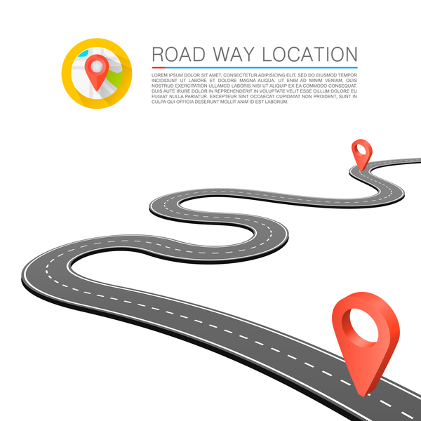 Road way location coordinate infographic vector 04