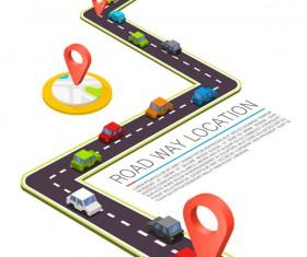 Road way location coordinate infographic vector 05