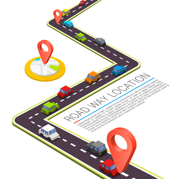 Road way location coordinate infographic vector 05
