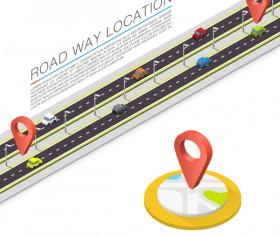 Road way location coordinate infographic vector 06