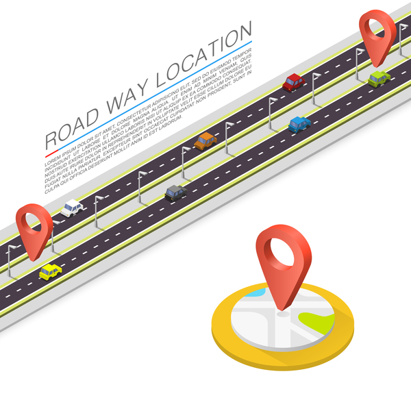Road way location coordinate infographic vector 06