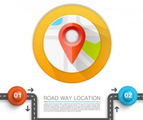Road way location coordinate infographic vector 07