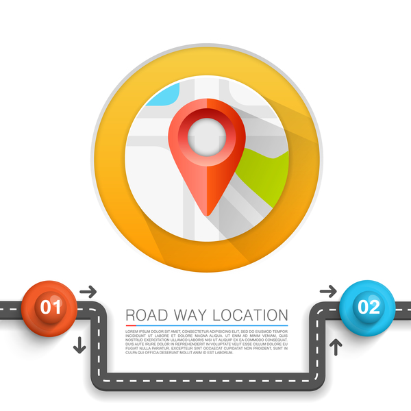 Road way location coordinate infographic vector 07