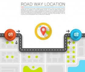 Road way location coordinate infographic vector 08