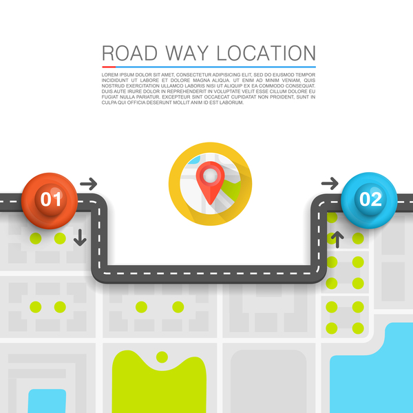 Road way location coordinate infographic vector 08