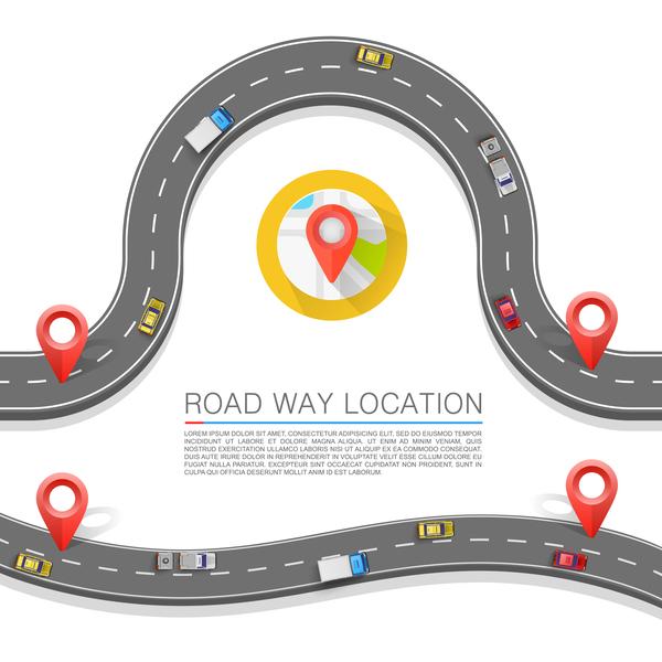 Road way location coordinate infographic vector 11