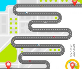 Road way location coordinate infographic vector 12