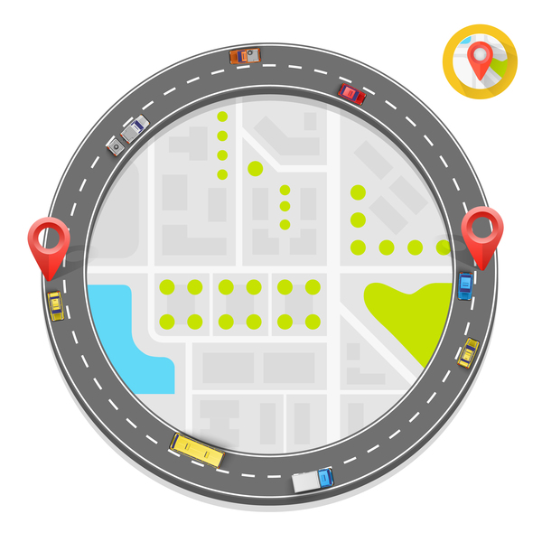 Road way location coordinate infographic vector 13