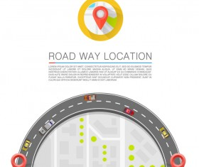 Road way location coordinate infographic vector 14