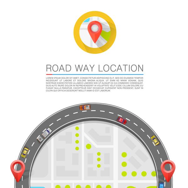Road way location coordinate infographic vector 14