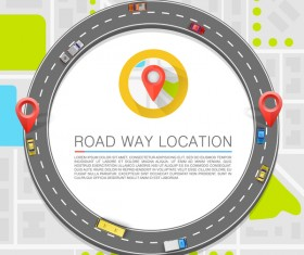 Road way location coordinate infographic vector 15