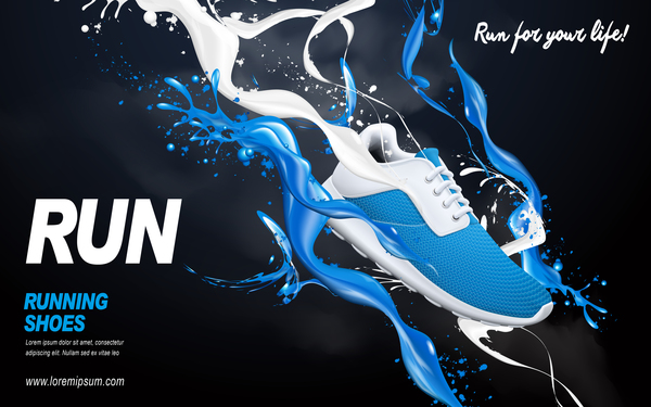 Running shoes poster template creative design vector 02