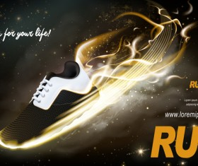 Running shoes poster template creative design vector 03