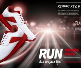 Running shoes poster template creative design vector 04