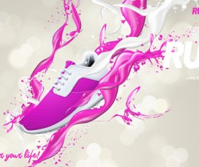 Running shoes poster template creative design vector 06