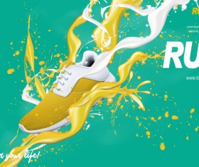 Running shoes poster template creative design vector 07