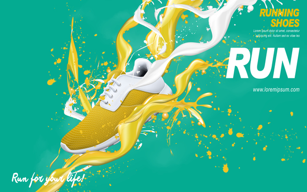 Running shoes poster template creative design vector 07 free download