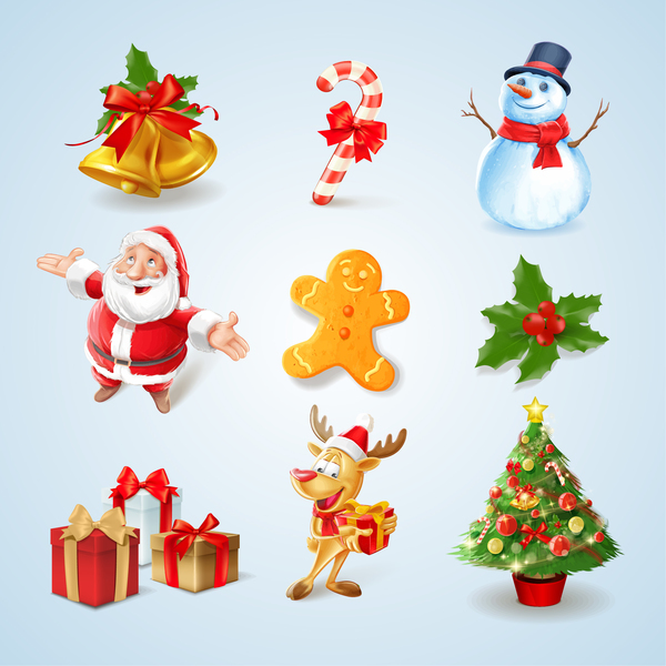 Santa with christmas elements icons
