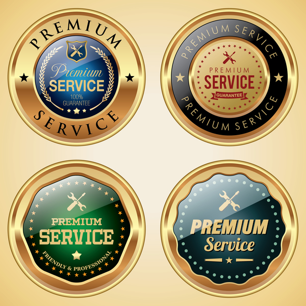 Service badges golden vector