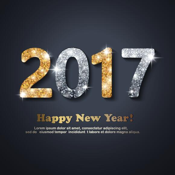 Shining 2017 new year design with dark background vector 01