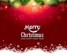 Shiny christmas red background design vector 04