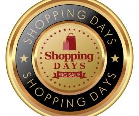 Shopping days badges golden vector