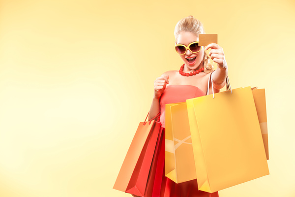 Shopping Woman With Bank Card Hd Picture People Stock