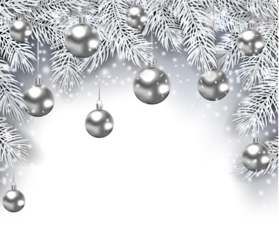 White Silver Ornament Silvers: Silver Christmas Ball Decor Background Vector Graphic Free