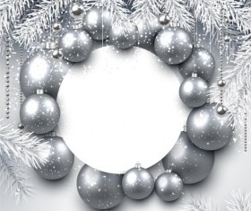 Silver christmas ball frame with paper card vector