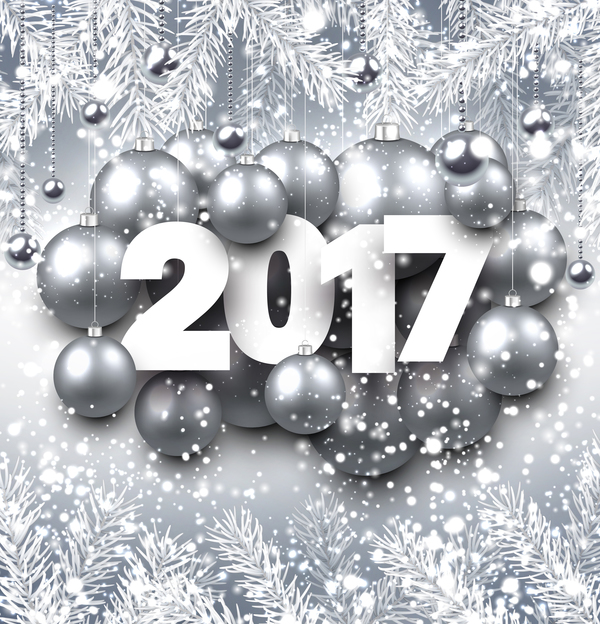 silver christmas baubles with 2017 new year shining background vector 03