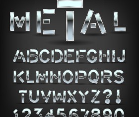 Silver metal numbers with alphabet vector