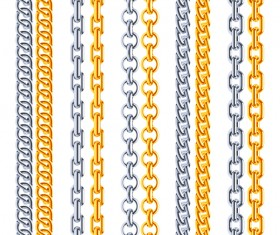 Silver with golden chains vector illustration 01