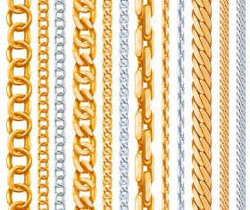 Silver with golden chains vector illustration 03