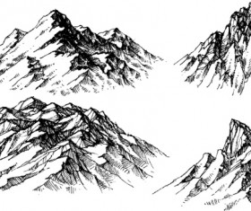 Sketch mountains hand drawn vector 01