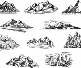 Sketch mountains hand drawn vector 02