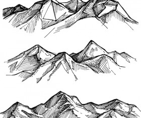 Sketch mountains hand drawn vector 03