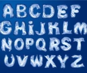Snow with ice alphabet vector