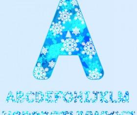 Snowflake christmas alphabet vector set
