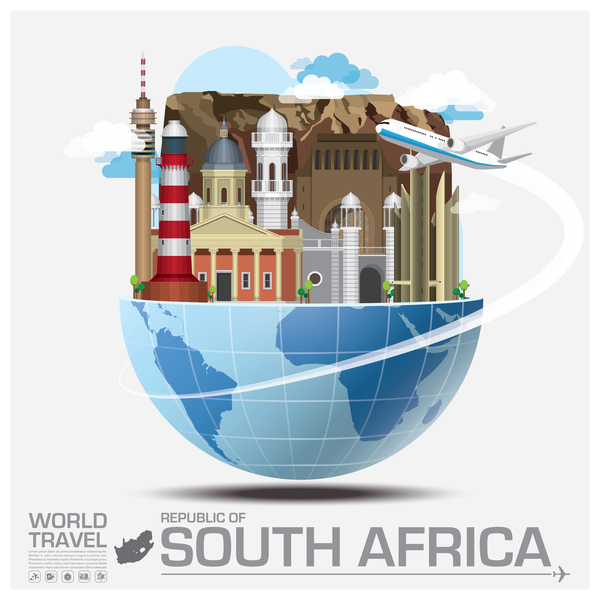 South africa travel vector template
