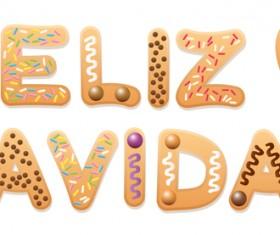 Spanish christmas cookies feliz navidad text design vector