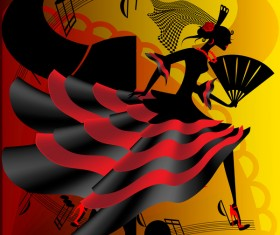 Spanish dance vector material 03