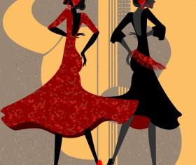 Spanish dance vector material 04