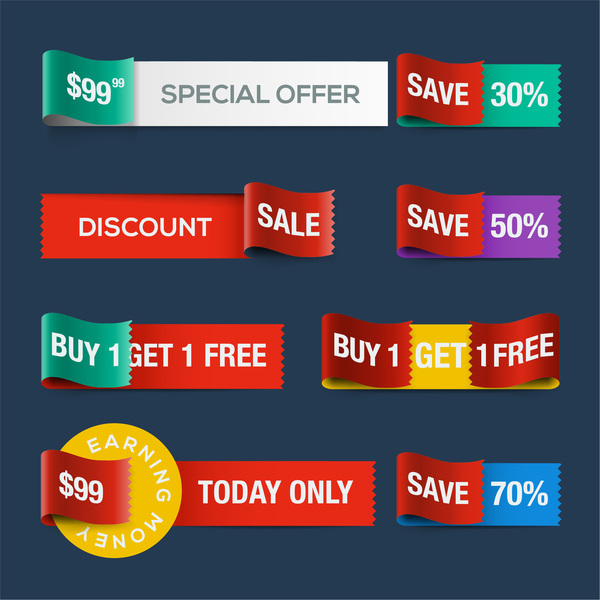 Special offer ribbon banners vector