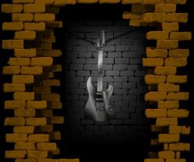 Steel guitar in rock breaking through brick wall background vector