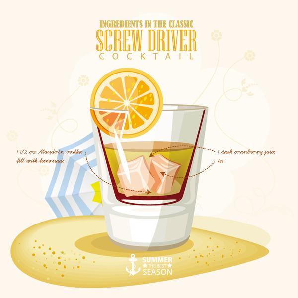 Summer season cocktails poster template vector 02