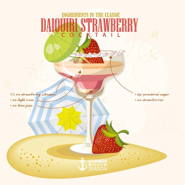 Summer season cocktails poster template vector 06