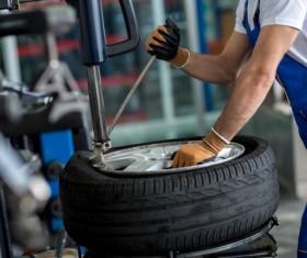 Tire maintenance Stock Photo