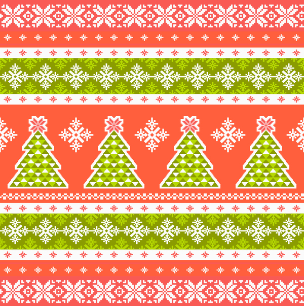 Traditonal knitted christmas seamless patterns vector 05