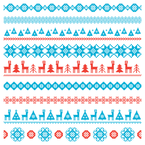 Traditonal knitted christmas seamless patterns vector 06