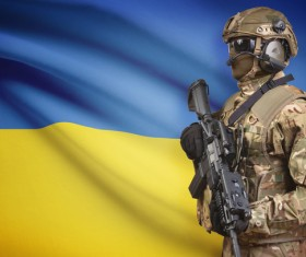 Ukrainian flag with heavily armed soldiers HD picture